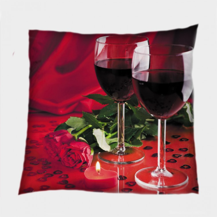 Романтична декоративна възглавница Червено вино - Red Wine