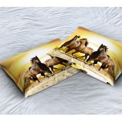 Декоративна възглавница с животни Коне по залез - Horse Sunset
