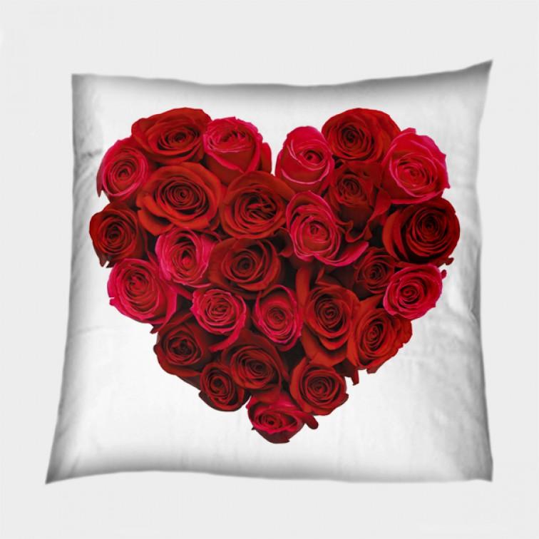 Деко възглавница Сърце от рози - Heart of Roses