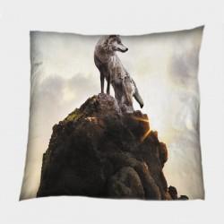Декоративна възглавничка Вълк на скала - Wolf Rock