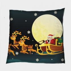 Деко коледна възглавница Дядо Коледа със шейна - Santa's Sledge