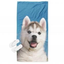 Ефектна кърпа за плаж с бебе хъски - Baby Husky