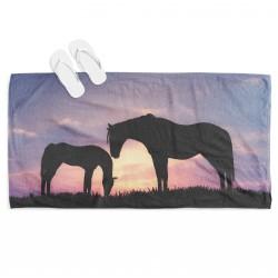 Плажна кърпа с 3D изображение Коне - Horses
