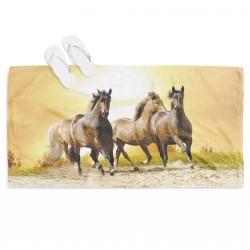 Хавлиена плажна кърпа Коне по залез - Sunset Horse
