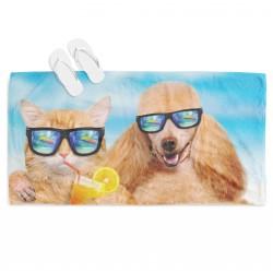 Забавна плажна кърпа Куче и котка на плаж - Dog and Cat on the Beach
