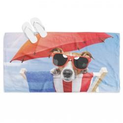 Българска кърпа за плаж Куче на плаж - Beach Dog