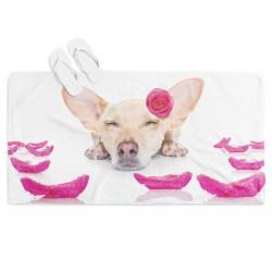 Плажна кърпа Куче с рози - Dog Roses