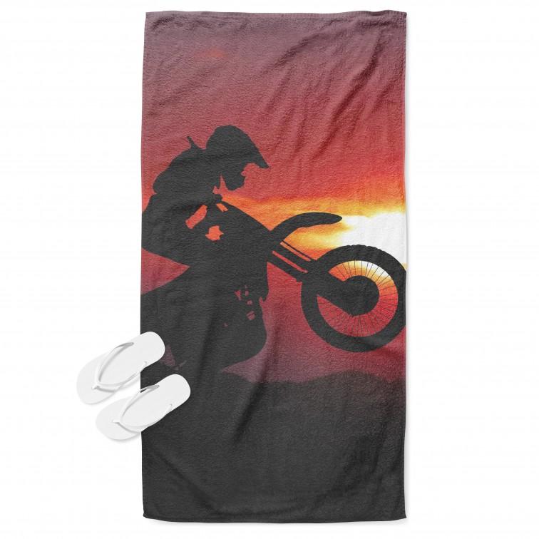 Фенска кърпа за плаж Мотор по залез - Motorcycle Sunset