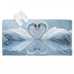 Хавлия за плаж Влюбени лебеди - Swans In Love