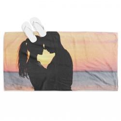 Плажна кърпа за двама Влюбени по залез - Couple Sunset