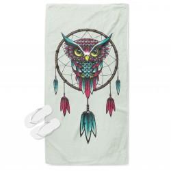 Бохо кърпа за плаж Капан за сънища с бухал - Dreamcatcher