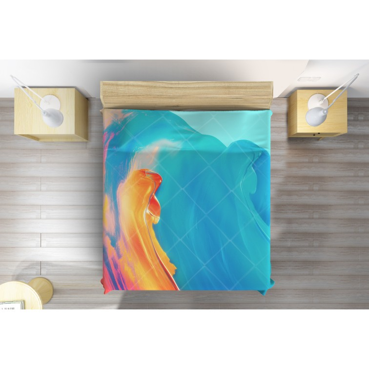 Арт кувертюра за легло Рисувана цветна вълна - Paint colorful wave