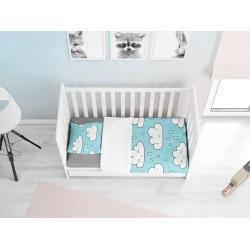Памучно бебешко спално бельо Облачета - Rainy Clouds