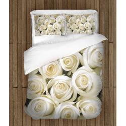 Романтичен спален комплект с олекотена завивка Бели рози - White Roses