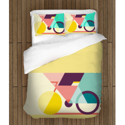 Спално бельо със завивка 3D Арт колела - Art Bycicle