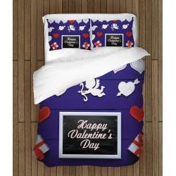 Празнично спално бельо Честит свети Валентин - Happy Valentine Day