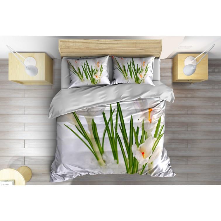 3D Спално бельо с олекотена завивка Цвете в снега - Flower in the Snow