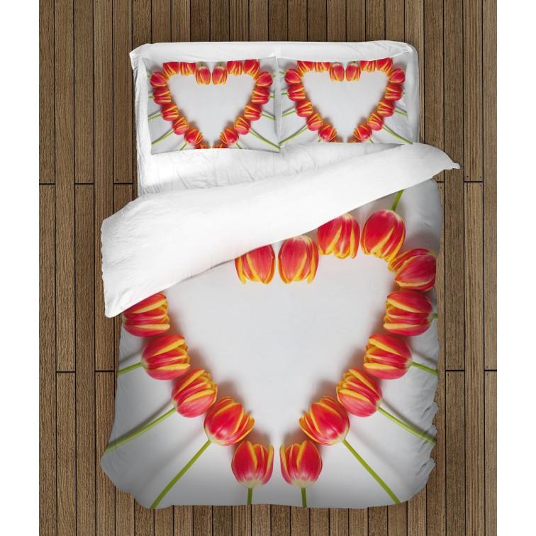 Комплект романтични чаршафи Цветна любов - Flower Love