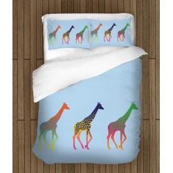 Свежо спално бельо Цветни жирафи - Colorful Giraffes
