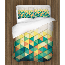Спално бельо със завивка 3D Цветни триъгълници - Color Triangles