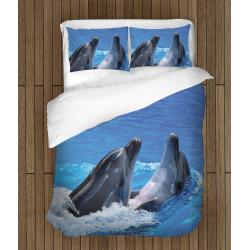 Комплект спално бельо със завивка Делфини - Dolphins