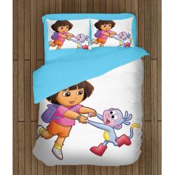 Забавно детско спално бельо със завивка Дора и маймунка - Dora and Monkey