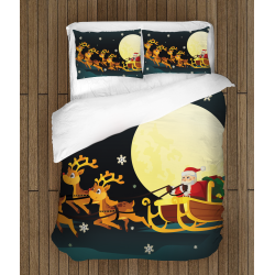 Коледен спален комплект Дядо Коледа със шейна - Santa Claus in a Sledge