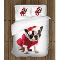 Спално бельо Френски Булдог на Коледа - Christmas French Bulldog