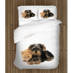 Комплект чаршафи Йорки териер и коте - Yorkshiere Terrier and Kitten
