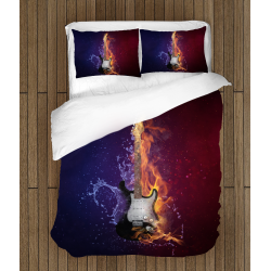 Спално бельо със завивка 3D Китара огън и лед - Guitar Fire Ice