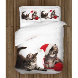 Коледно спално бельо със завивка Котета с прежда - Kittens with yarn