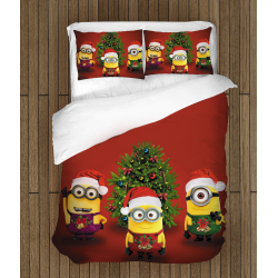 Детски празнични чаршафи със завивка Коледни миниони - Christmas Minions