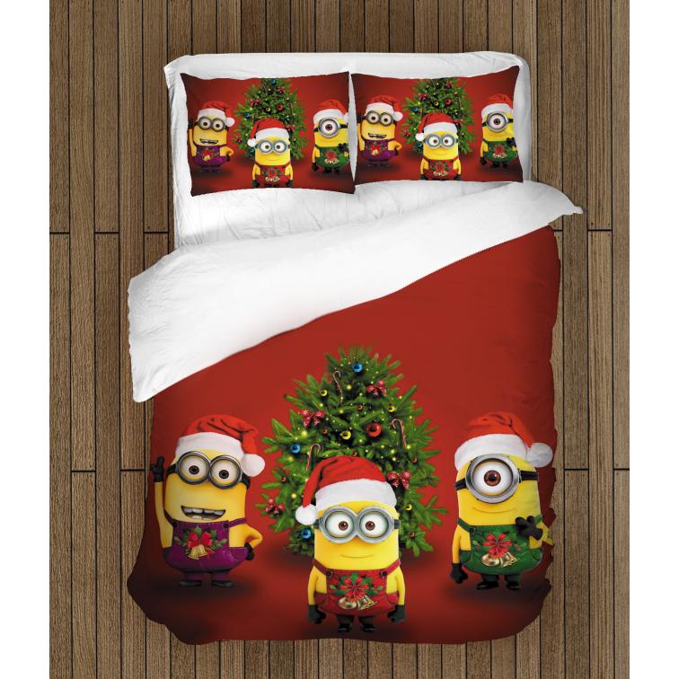 Детски празнични чаршафи Коледни миниони - Christmas Minions