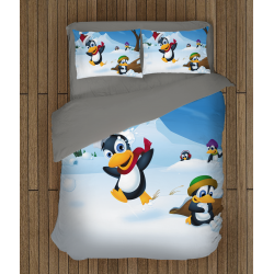 Детски коледни чаршафи със завивка Пингвини - Pinguins