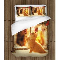 Коледни чаршафи със завивка Коледно коте - Christmas Kitten