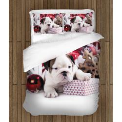 Коледни чаршафи със завивка Коледно кученце - Christmas Puppy