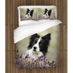Спален комплект с куче Коли в цветя - Collie and Flowers