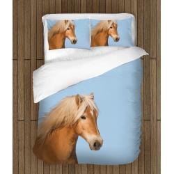 Красиво 3D спално бельо Кон - Horse Blue