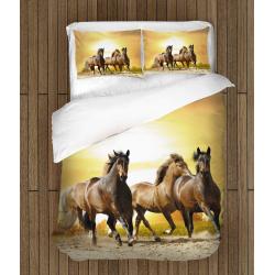 Спално бельо 3D със завивка Конски бяг при залез - Horses Sunset