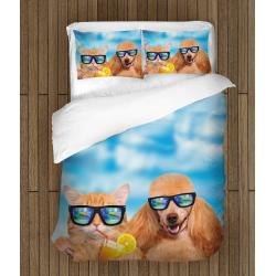 Чаршафи Котка и куче на плажа - Cat And Dog On The Beach