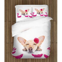 Сладък комплект чаршафи с животни Куче - Dog