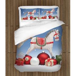 Детски коледен спален комплект с олекотена завивка Люлеещо конче - Rocking Horse