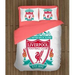Футболно спално бельо за фенове Ливърпул - Liverpool White
