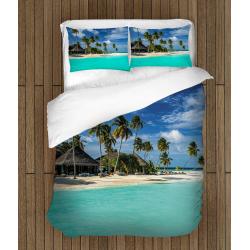 Романтичен комплект бельо със завивка 3D Малдивите - Maldives