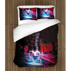 Романтично 3Д спално бельо Сърце - Neon Heart