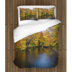 Спален 3Д комплект със завивка Река през есента - River in autumn