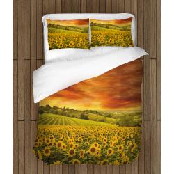 Спално бельо 3D със завивка Слънчогледово поле - Sunflower Field