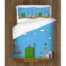 Спален комплект за деца Супер Марио - Super Mario Blue Background
