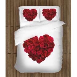 Комплект романтично спално бельо със завивка Сърце - Heart