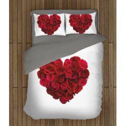Романтично спално бельо 3D Сърце от рози - Heart of roses